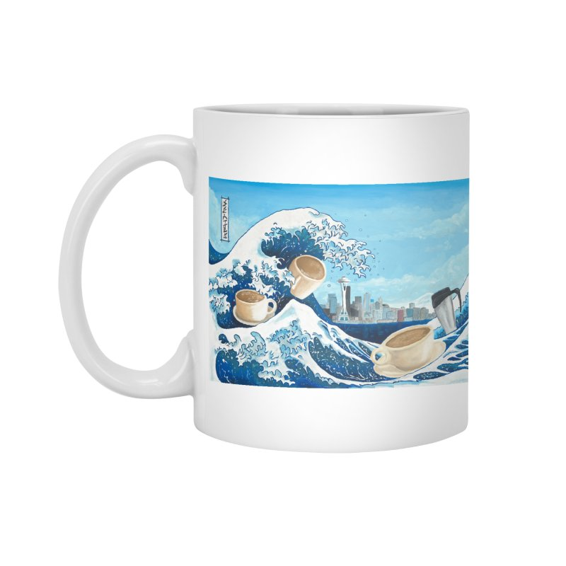 Hokusai - The Great Wave in Seattle Accessories Standard Mug by mybadart's Artist Shop