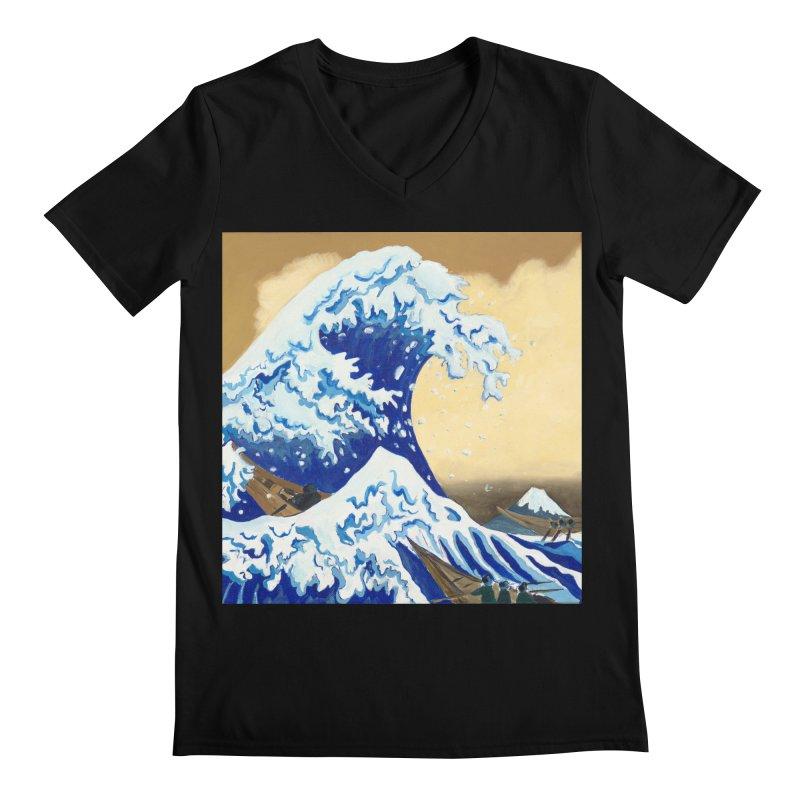 Hokusai - The Great Wave Men's Regular V-Neck by mybadart's Artist Shop