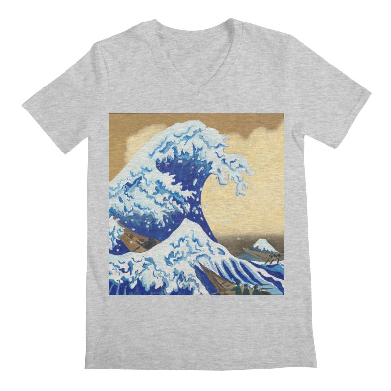 Hokusai - The Great Wave Men's V-Neck by mybadart's Artist Shop