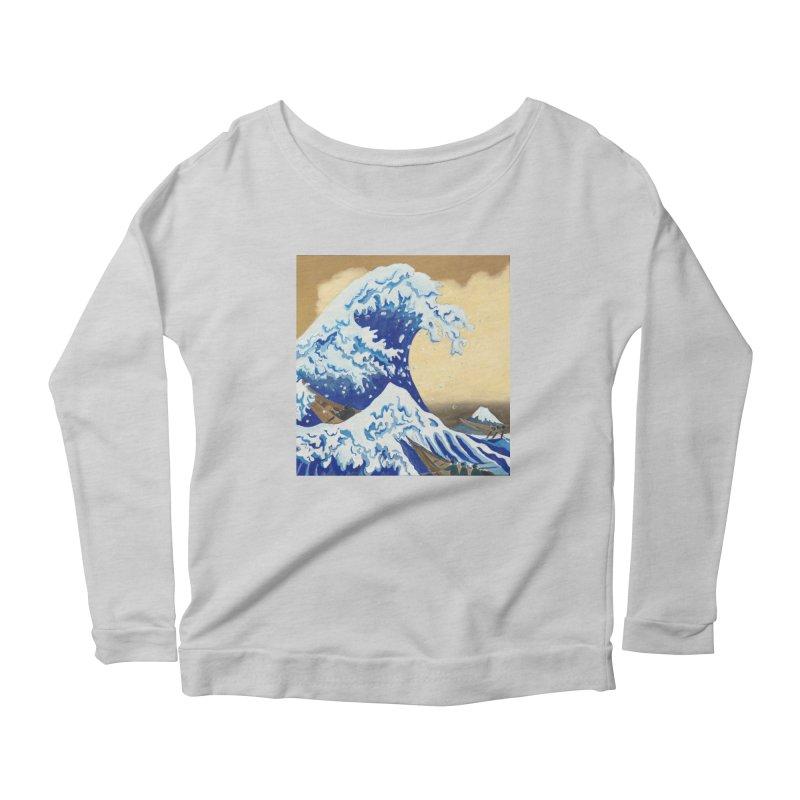 Hokusai - The Great Wave Women's Scoop Neck Longsleeve T-Shirt by mybadart's Artist Shop