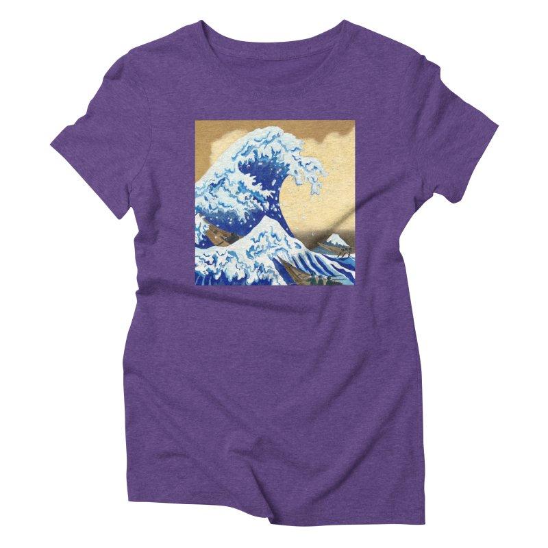Hokusai - The Great Wave Women's Triblend T-Shirt by mybadart's Artist Shop
