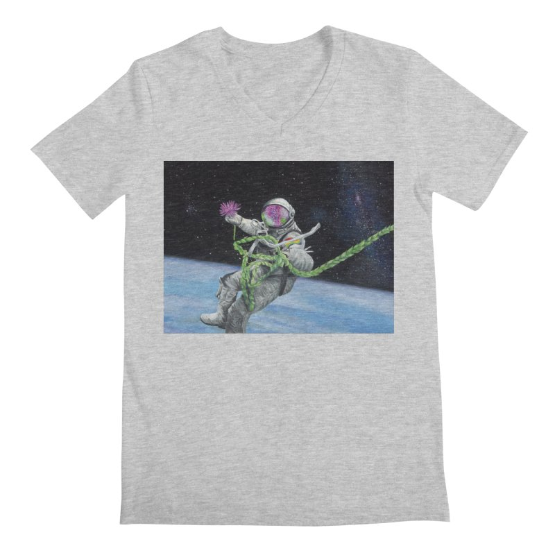 Is anybody out there? Men's Regular V-Neck by mybadart's Artist Shop