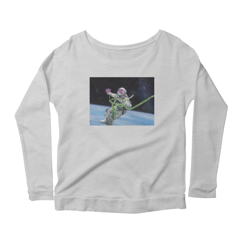 Is anybody out there? Women's Scoop Neck Longsleeve T-Shirt by mybadart's Artist Shop