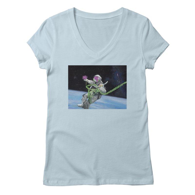 Is anybody out there? Women's Regular V-Neck by mybadart's Artist Shop