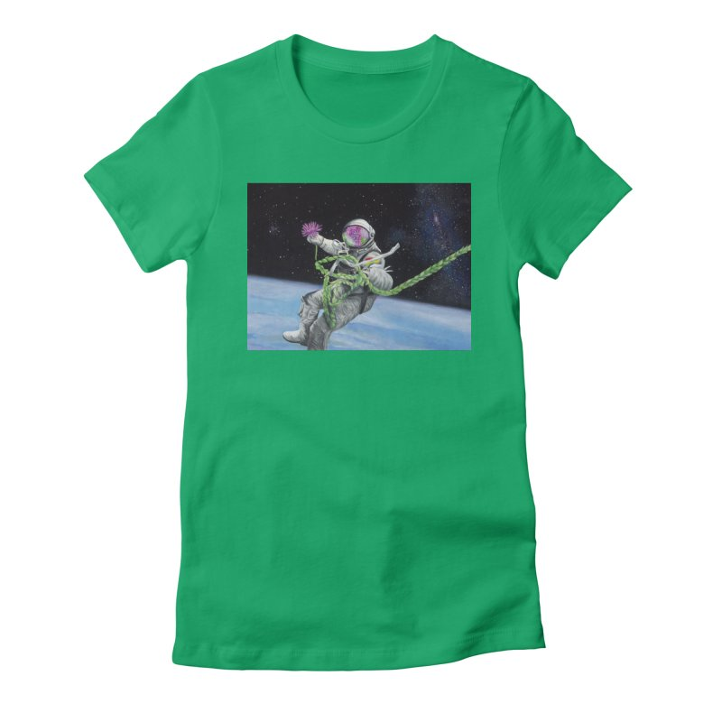 Is anybody out there? Women's Fitted T-Shirt by mybadart's Artist Shop