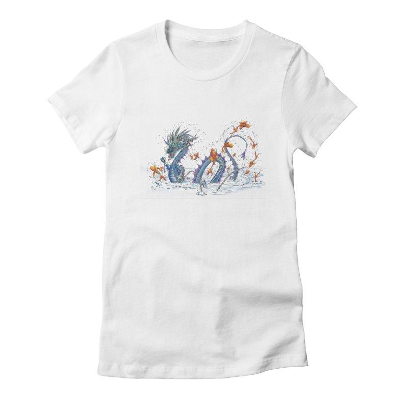 Water Dragon Women's Fitted T-Shirt by mybadart's Artist Shop
