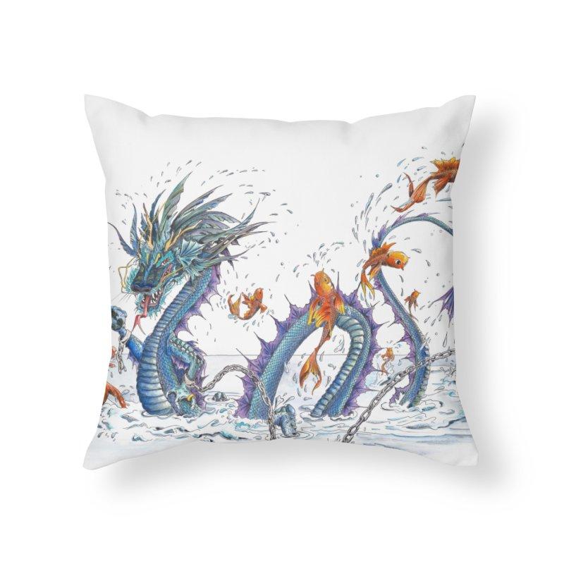 Water Dragon Home Throw Pillow by mybadart's Artist Shop