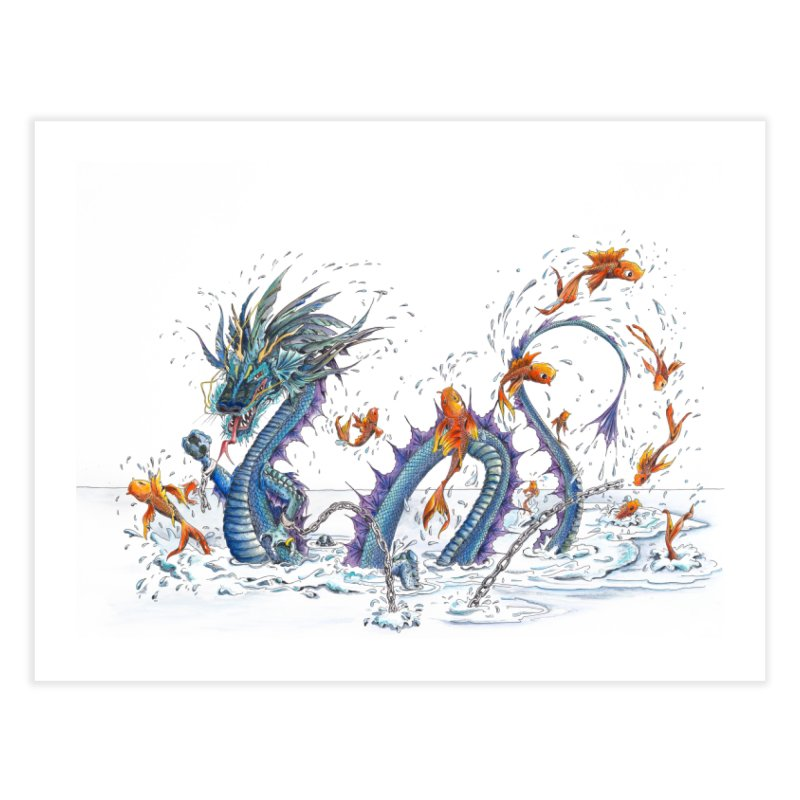 Water Dragon Home Fine Art Print by mybadart's Artist Shop