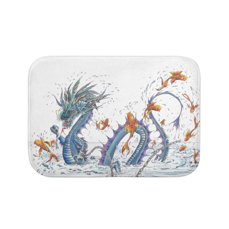 Water Dragon Home Bath Mat by mybadart's Artist Shop