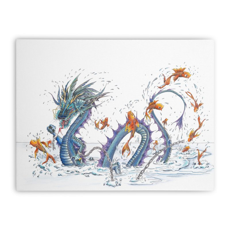 Water Dragon Home Stretched Canvas by mybadart's Artist Shop
