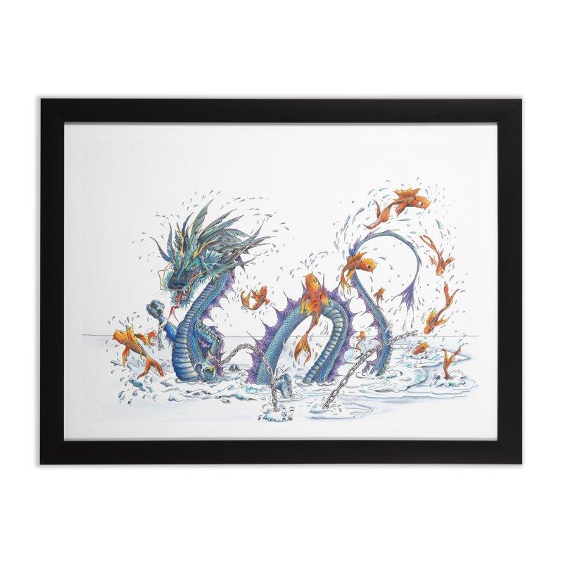Water Dragon Home Framed Fine Art Print by mybadart's Artist Shop