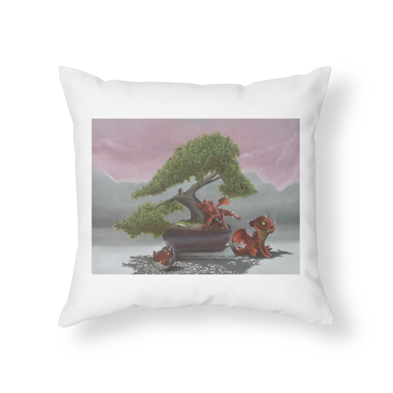 Baby Dragons and Bonsai Home Throw Pillow by mybadart's Artist Shop