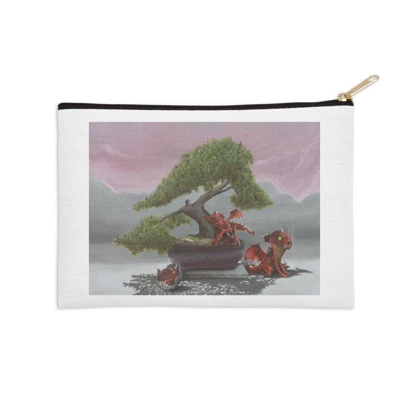 Baby Dragons and Bonsai Accessories Zip Pouch by mybadart's Artist Shop