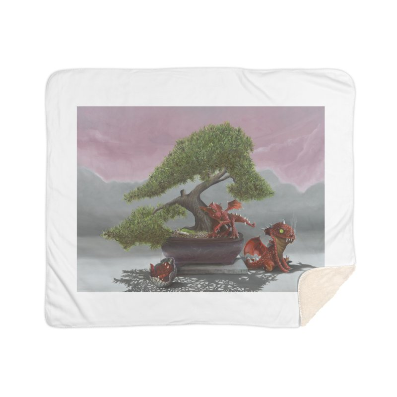 Baby Dragons and Bonsai Home Sherpa Blanket Blanket by mybadart's Artist Shop