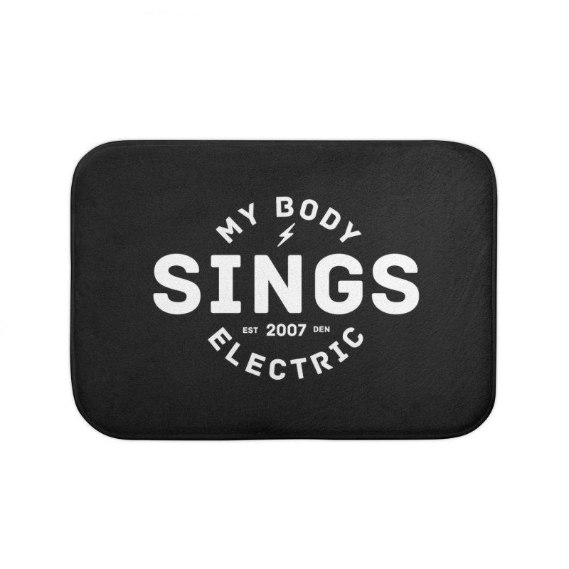 Bomber Logo (White) Home Bath Mat by My Body Sings Electric Merch | Shop Men, Women, an