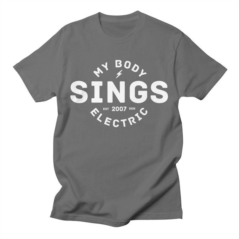 Bomber Logo (White) Men's T-Shirt by My Body Sings Electric Merch   Shop Men, Women, an