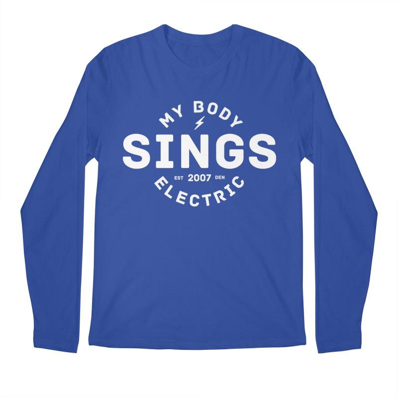 Bomber Logo (White) Men's Regular Longsleeve T-Shirt by My Body Sings Electric Merch | Shop Men, Women, an