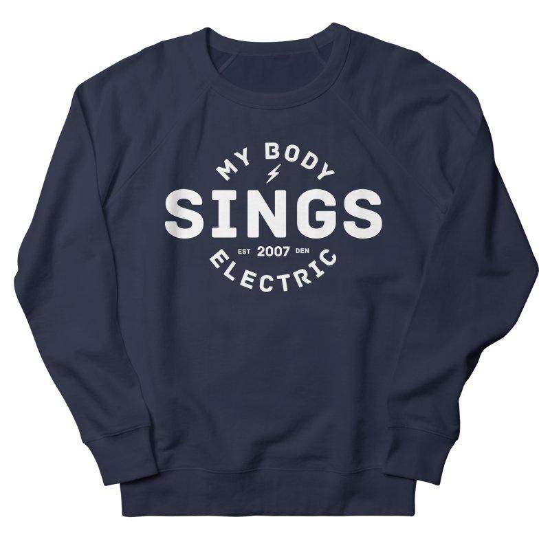Bomber Logo (White) Men's French Terry Sweatshirt by My Body Sings Electric Merch   Shop Men, Women, an