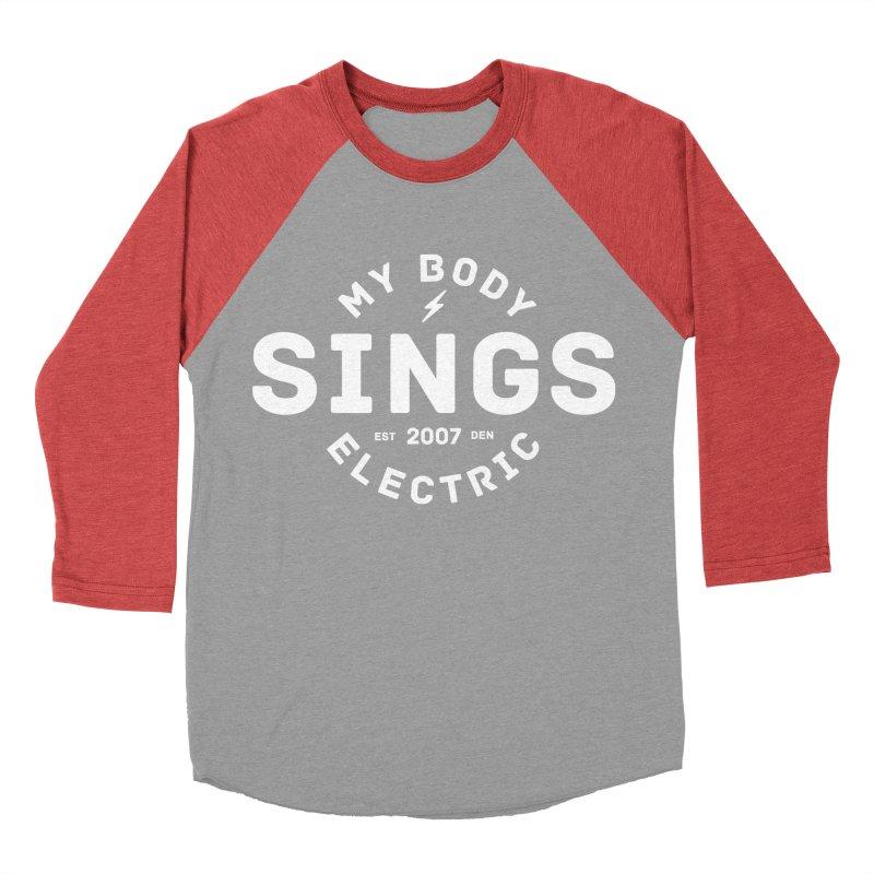 Bomber Logo (White) Men's Baseball Triblend Longsleeve T-Shirt by My Body Sings Electric Merch | Shop Men, Women, an
