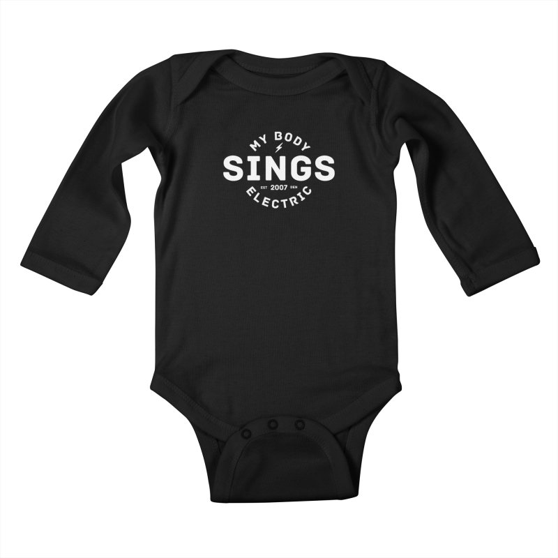 Bomber Logo (White) Kids Baby Longsleeve Bodysuit by My Body Sings Electric Merch | Shop Men, Women, an