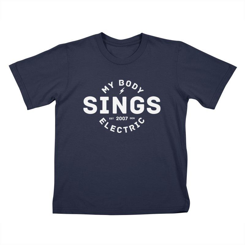 Bomber Logo (White) Kids T-Shirt by My Body Sings Electric Merch | Shop Men, Women, an