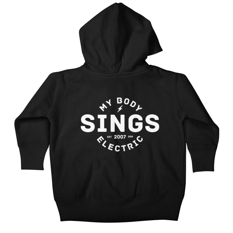 Bomber Logo (White) Kids Baby Zip-Up Hoody by My Body Sings Electric Merch | Shop Men, Women, an