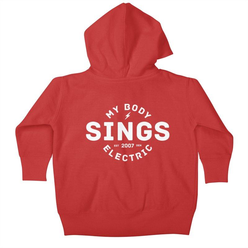 Bomber Logo (White) Kids Baby Zip-Up Hoody by My Body Sings Electric Merch   Shop Men, Women, an