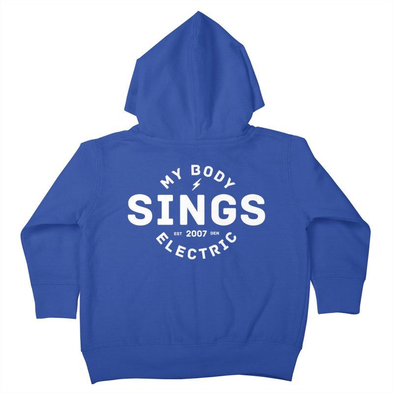 Bomber Logo (White) Kids Toddler Zip-Up Hoody by My Body Sings Electric Merch | Shop Men, Women, an