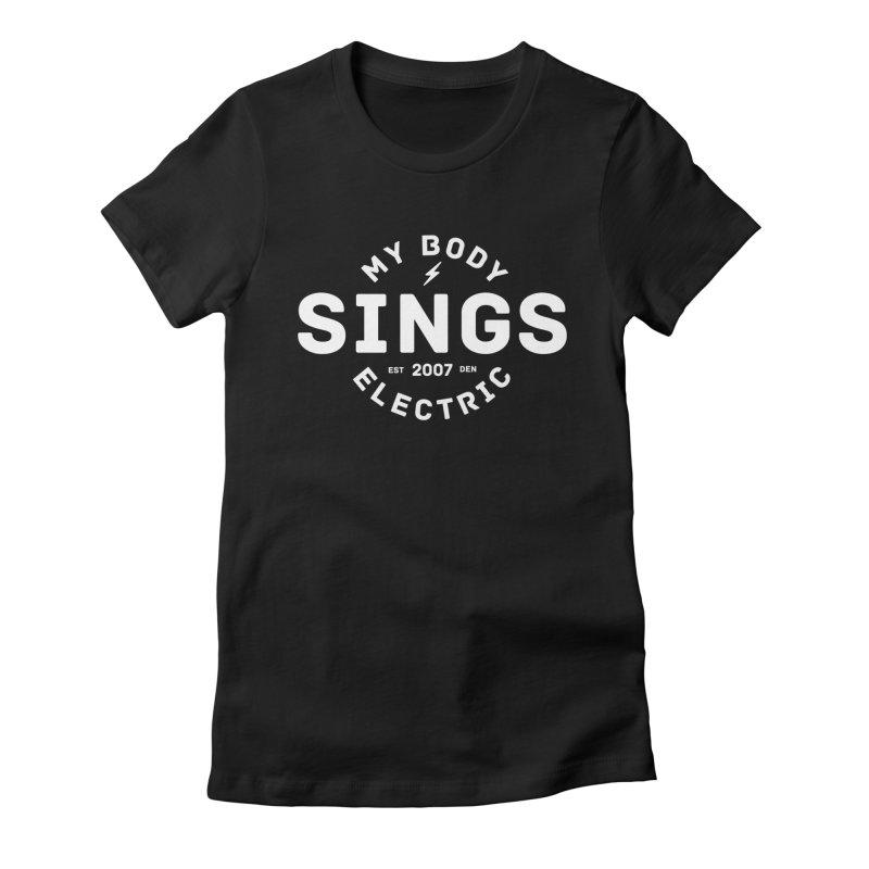 Bomber Logo (White) Women's Fitted T-Shirt by My Body Sings Electric Merch | Shop Men, Women, an