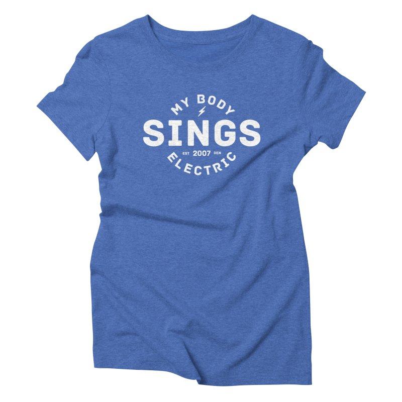 Bomber Logo (White) Women's Triblend T-Shirt by My Body Sings Electric Merch   Shop Men, Women, an