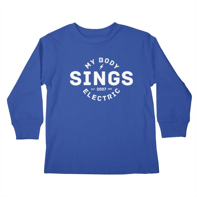 Bomber Logo (White) Kids Longsleeve T-Shirt by My Body Sings Electric Merch   Shop Men, Women, an