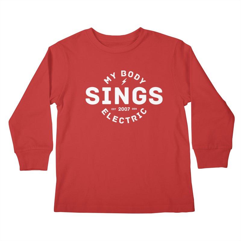 Bomber Logo (White) Kids Longsleeve T-Shirt by My Body Sings Electric Merch | Shop Men, Women, an