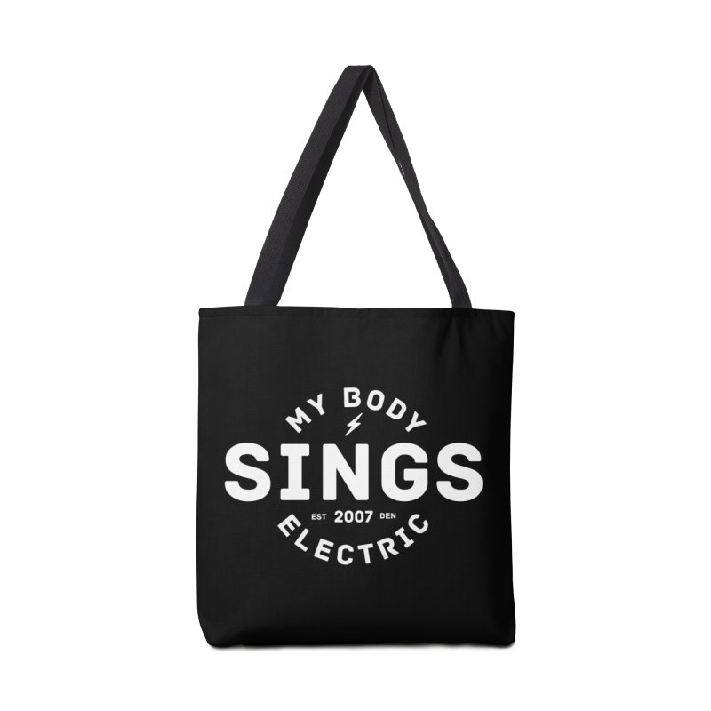 Bomber Logo (White) Accessories Bag by My Body Sings Electric Merch | Shop Men, Women, an
