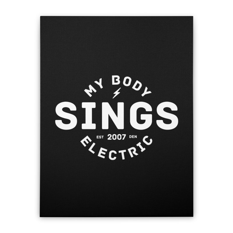 Bomber Logo (White) Home Stretched Canvas by My Body Sings Electric Merch | Shop Men, Women, an