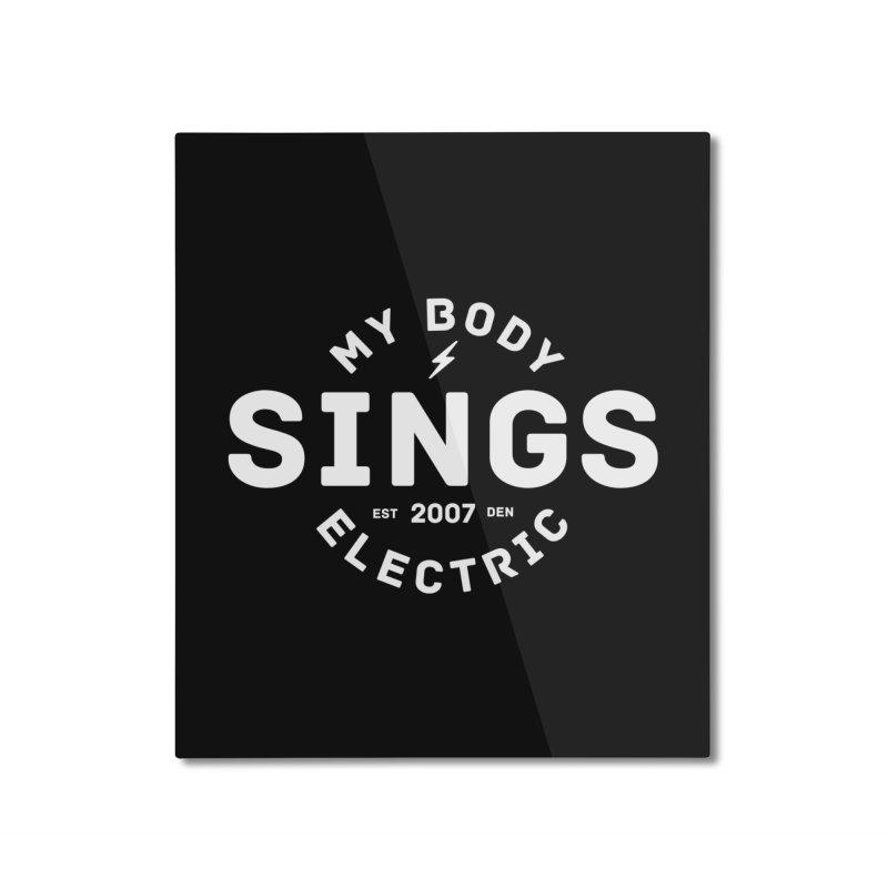 Bomber Logo (White) Home Mounted Aluminum Print by My Body Sings Electric Merch   Shop Men, Women, an