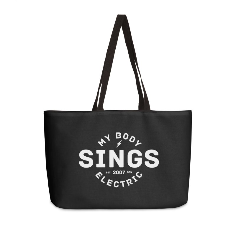Bomber Logo (White) Accessories Weekender Bag Bag by My Body Sings Electric Merch | Shop Men, Women, an