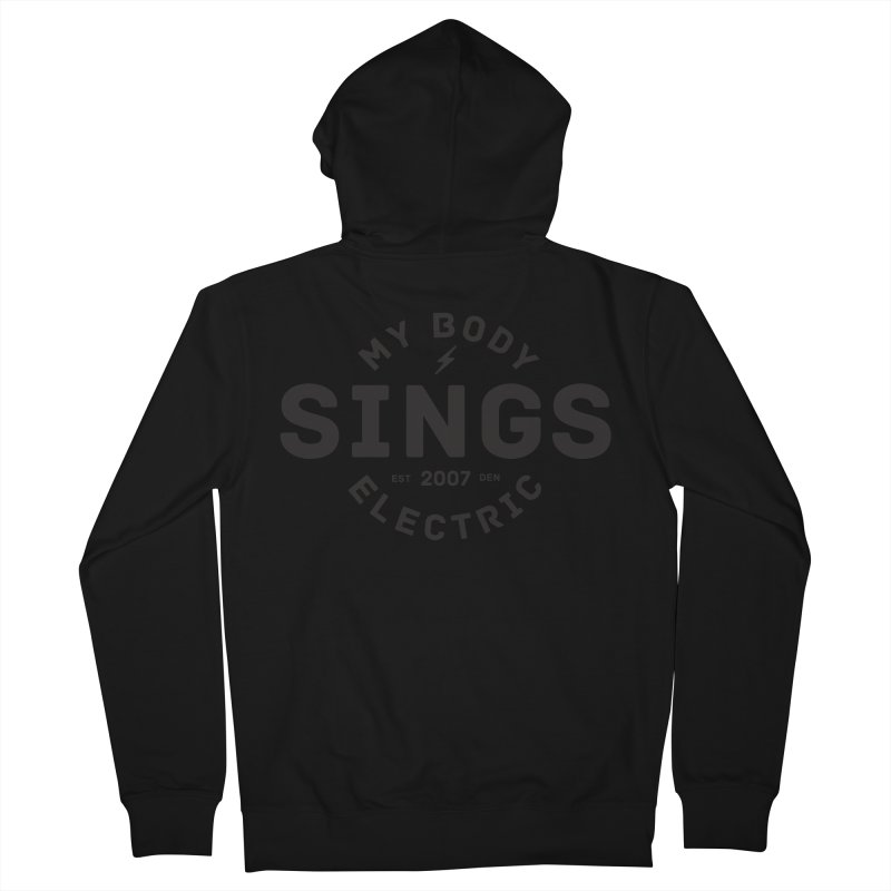 Bomber Logo (Black) Men's French Terry Zip-Up Hoody by My Body Sings Electric Merch | Shop Men, Women, an
