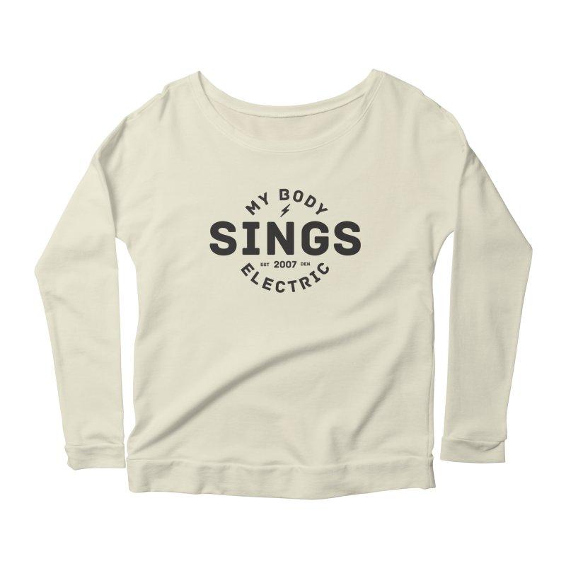 Bomber Logo (Black) Women's Scoop Neck Longsleeve T-Shirt by My Body Sings Electric Merch | Shop Men, Women, an