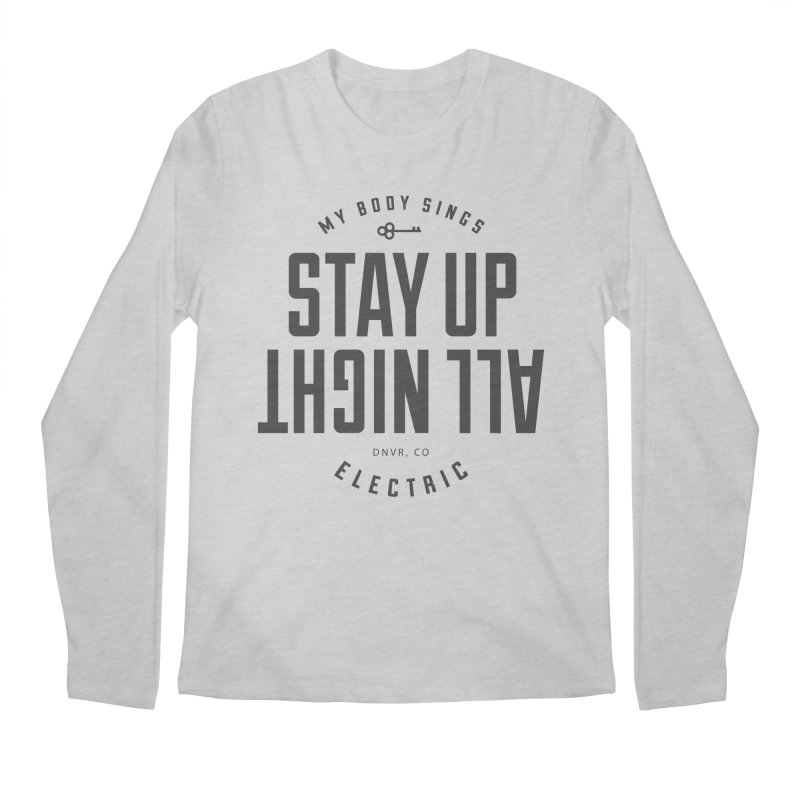 Up All Night (Black) Men's Regular Longsleeve T-Shirt by My Body Sings Electric Merch | Shop Men, Women, an