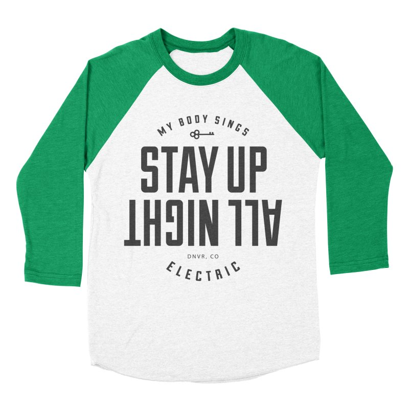Up All Night (Black) Men's Baseball Triblend Longsleeve T-Shirt by My Body Sings Electric Merch | Shop Men, Women, an