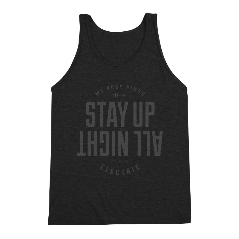 Up All Night (Black) Men's Tank by My Body Sings Electric Merch | Shop Men, Women, an