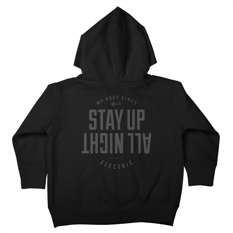 Up All Night (Black) Kids Toddler Zip-Up Hoody by My Body Sings Electric Merch | Shop Men, Women, an