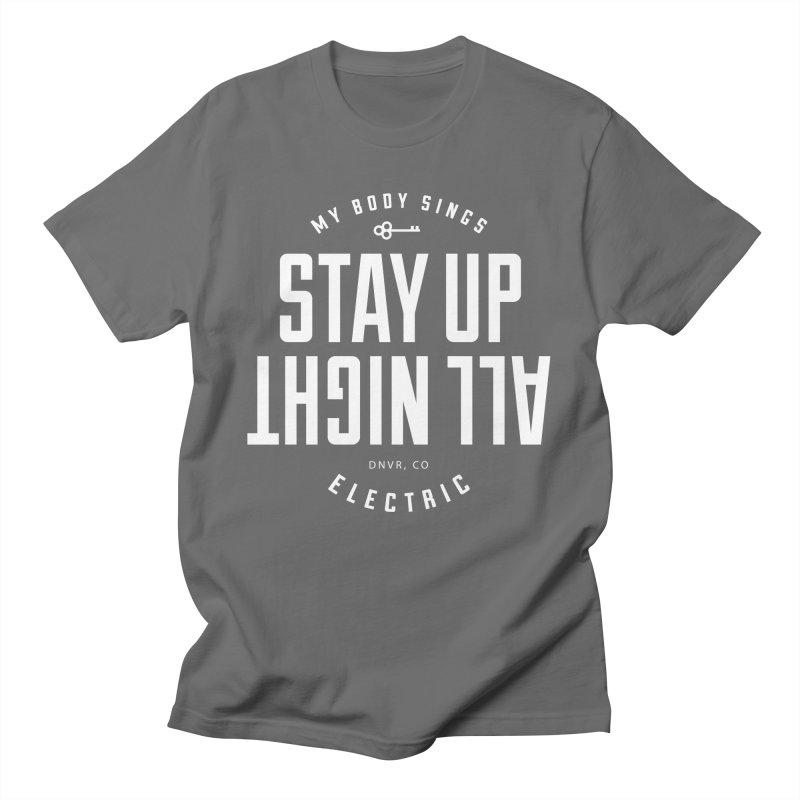 Up All Night (White) Men's T-Shirt by My Body Sings Electric Merch | Shop Men, Women, an