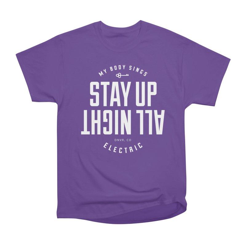 Up All Night (White) Men's Heavyweight T-Shirt by My Body Sings Electric Merch | Shop Men, Women, an