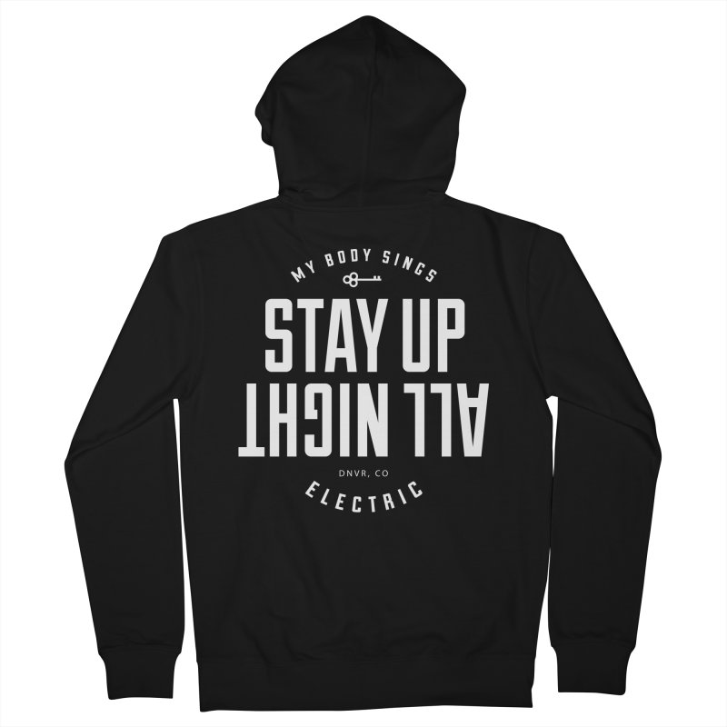 Up All Night (White) Women's French Terry Zip-Up Hoody by My Body Sings Electric Merch | Shop Men, Women, an