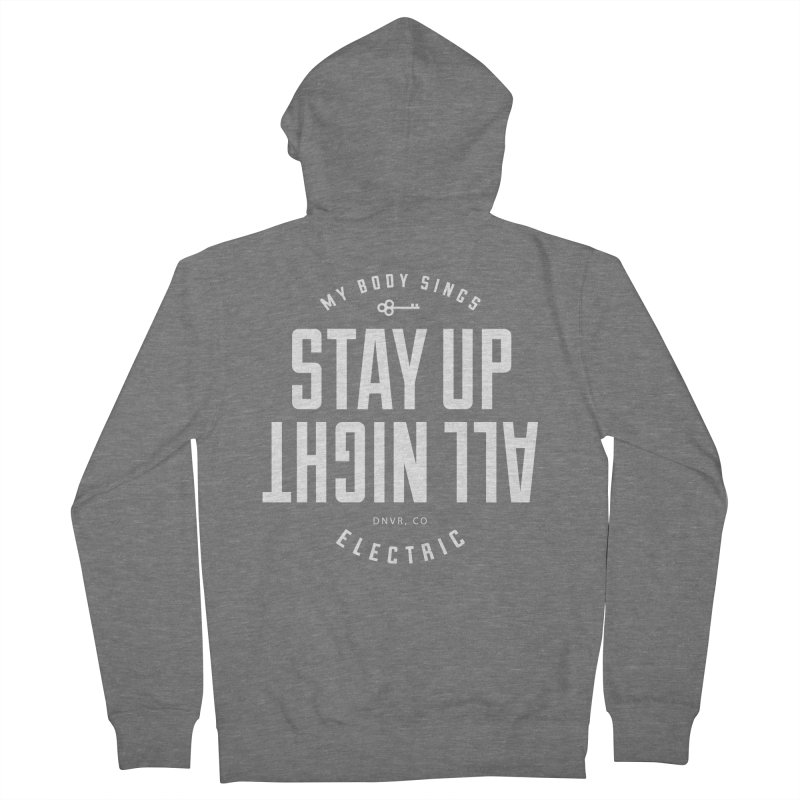 Up All Night (White) Men's French Terry Zip-Up Hoody by My Body Sings Electric Merch   Shop Men, Women, an