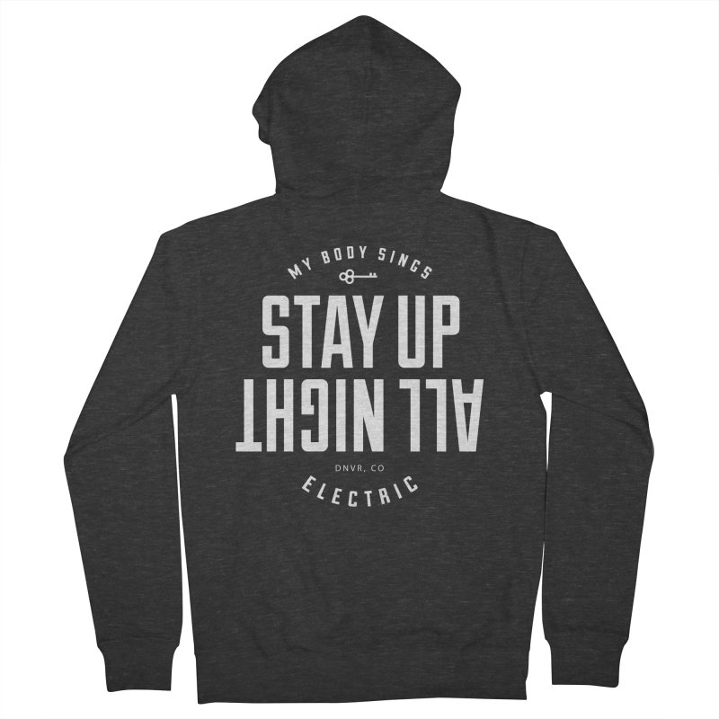 Up All Night (White) Men's French Terry Zip-Up Hoody by My Body Sings Electric Merch | Shop Men, Women, an