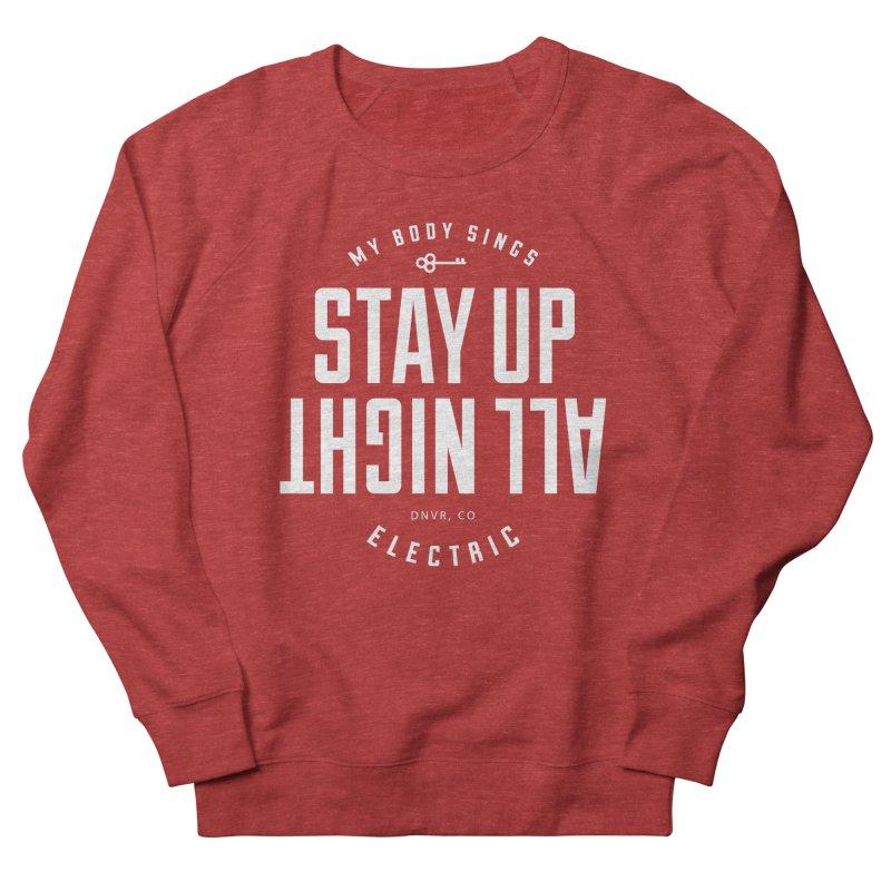 Up All Night (White) Men's French Terry Sweatshirt by My Body Sings Electric Merch   Shop Men, Women, an
