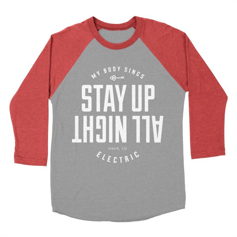 Up All Night (White) Women's Baseball Triblend Longsleeve T-Shirt by My Body Sings Electric Merch   Shop Men, Women, an