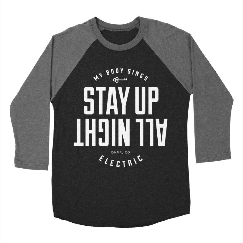 Up All Night (White) Men's Baseball Triblend Longsleeve T-Shirt by My Body Sings Electric Merch | Shop Men, Women, an